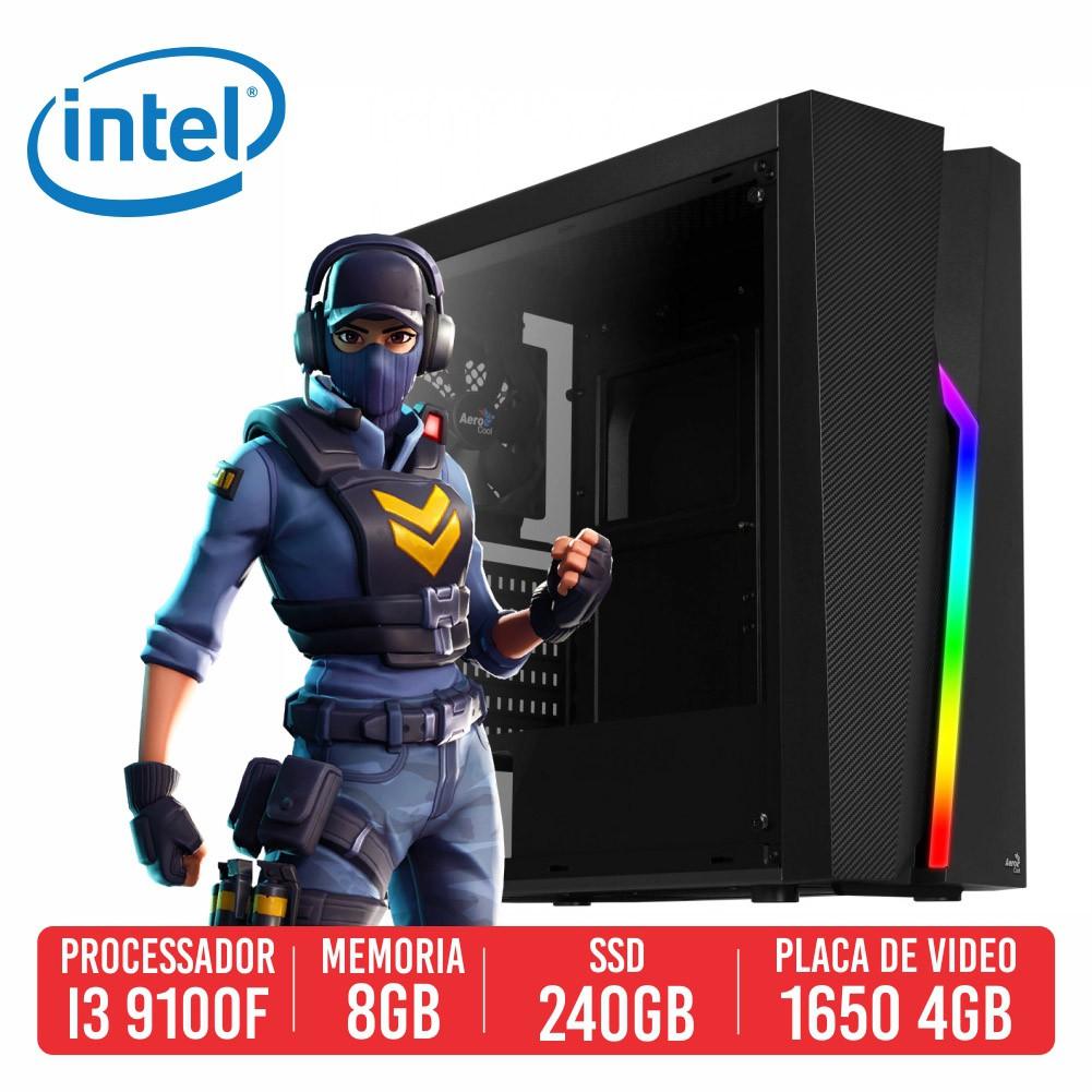 PC Gamer Scarl Intel I3 9100F 8GB SSD 240GB GTX 1650 4GB 500W 80 plus