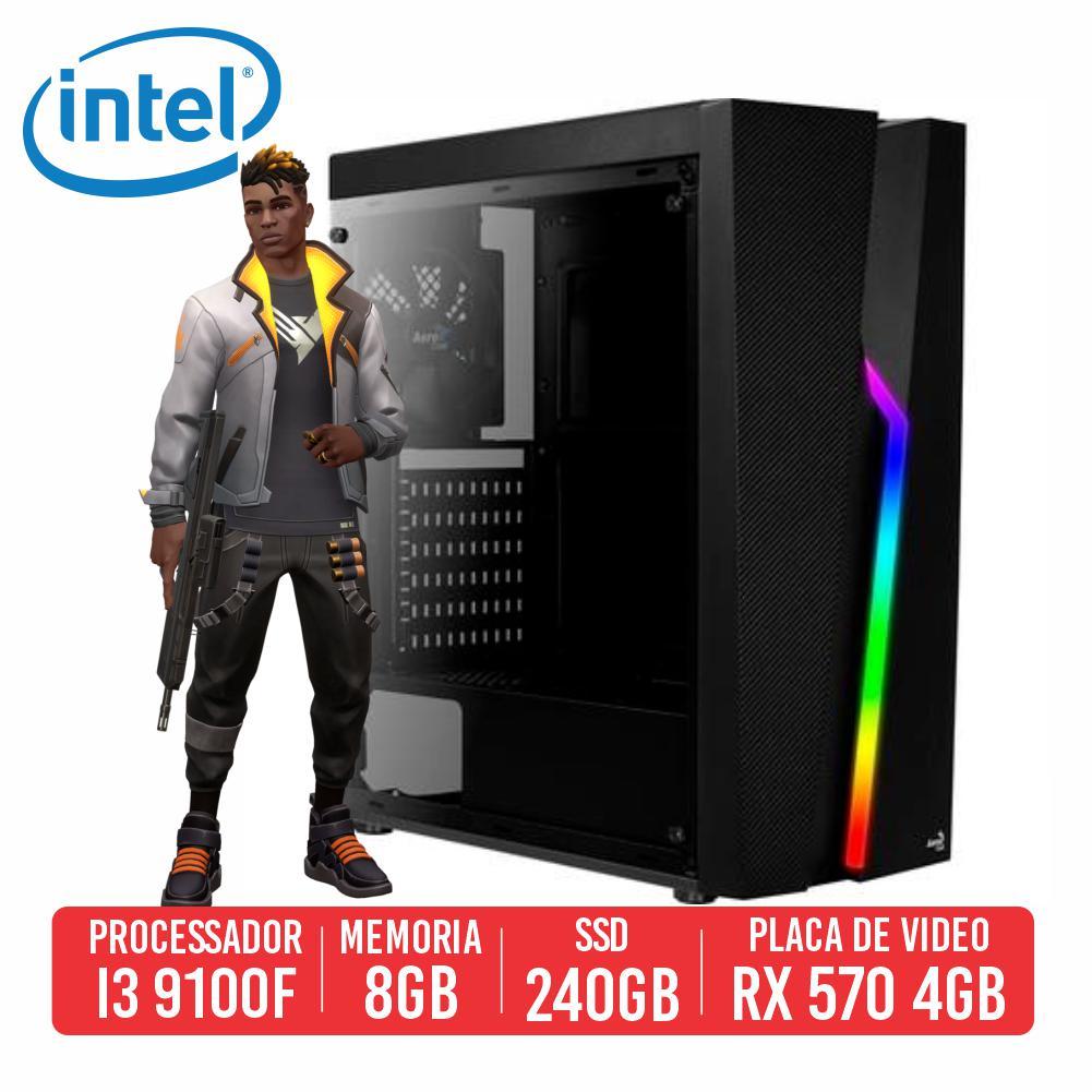 PC Gamer M16 Intel i3 9100F, 8GB, SSD 240GB, RX 570 4GB, 500W 80 Plus