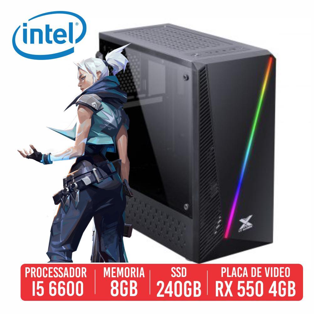 PC Gamer M24 Intel I5 6600 8GB SSD 240GB Rx 550 4GB 500W 80 plus