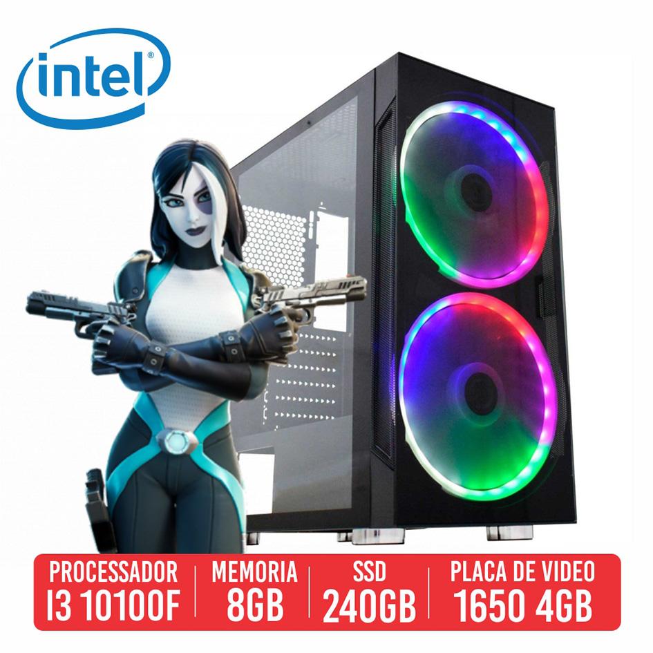 PC Gamer P92 Intel I3 10100F 8GB SSD 240GB GTX 1650 4GB 500W 80 plus