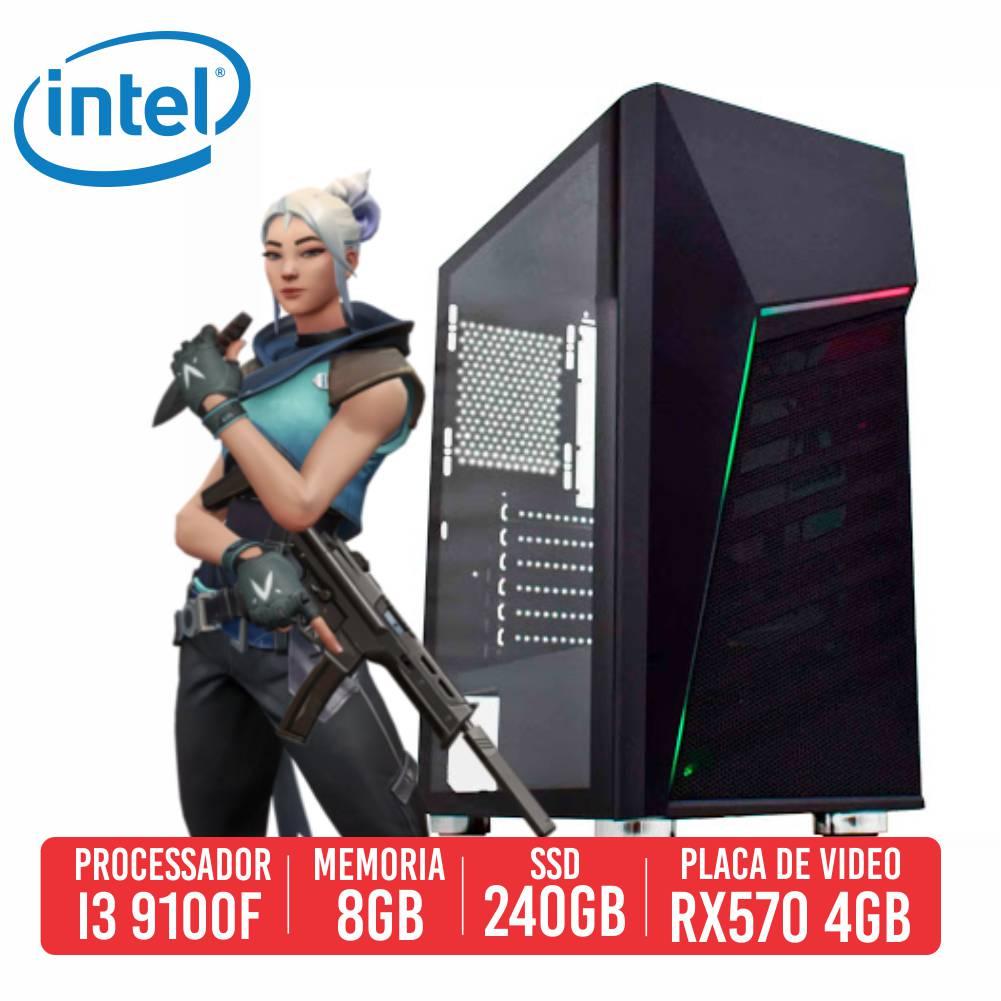 Pc Gamer Sawed Off Intel I3 9100F, 8GB, SSD 240GB, RX 570 4GB, 500W 80 Plus
