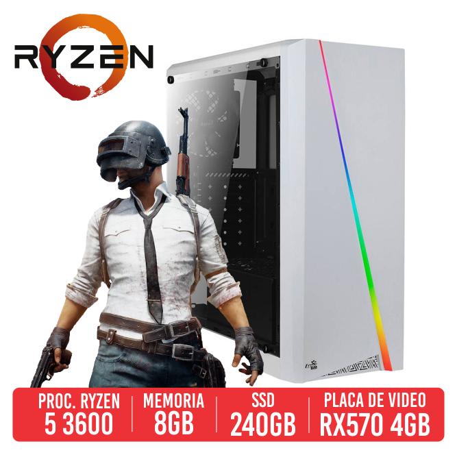 PC Gamer SLR AMD Ryzen 5 3600, 8GB, SSD 240GB, RX570 4GB, 500W 80 PLUS