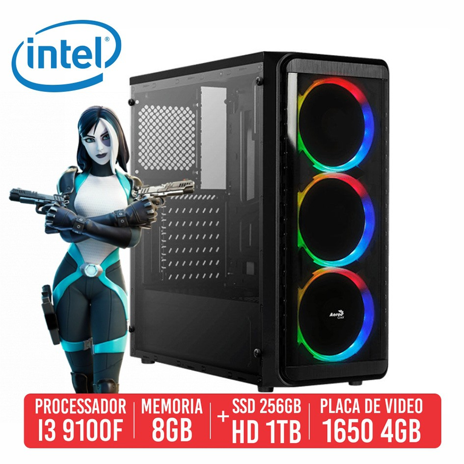 PC Gamer Spas12 Intel I3 9100F 8GB SSD 256GB + HD 1TB GTX 1650 4GB 500W 80 Plus