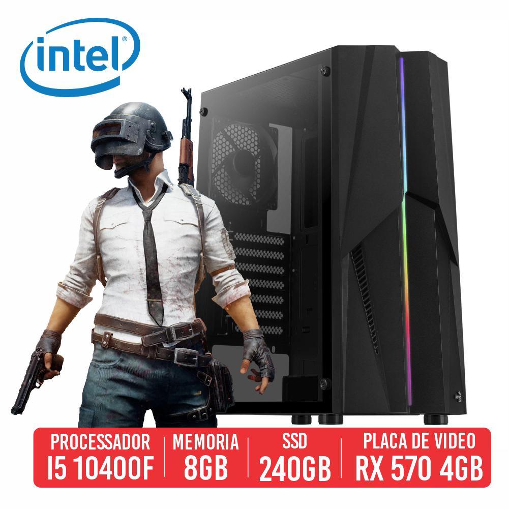 PC Gamer Vector Intel I5 10400F, 8GB, SSD 240GB, RX 570 4GB, 500W 80 Plus