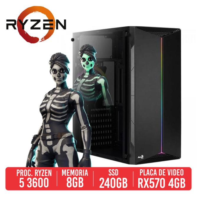 PC Gamer QBU AMD Ryzen 5 3600, 8GB, SSD 240GB, RX 570 4GB, 600W 80 PLUS