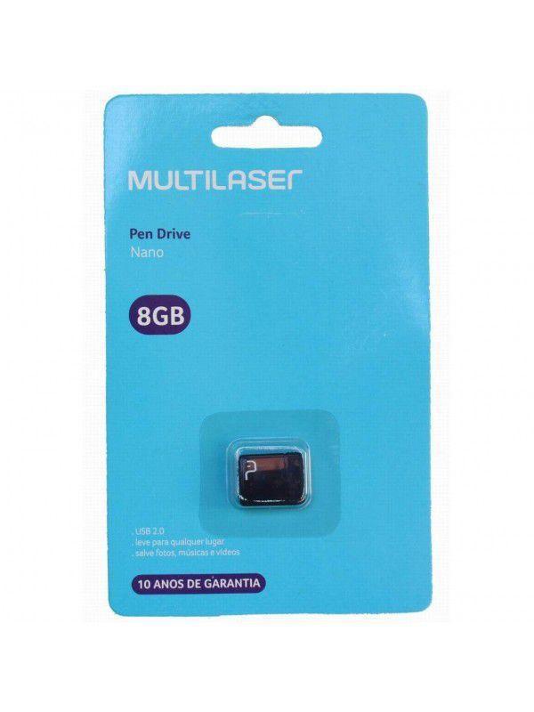 Pen Drive Multilaser Nano USB 2.0 8GB Preto - PD053