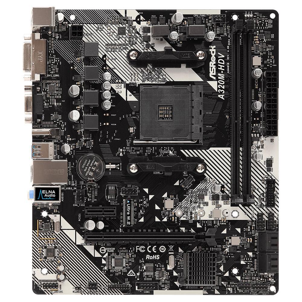 Placa-Mãe ASRock A320M-HDV R4.0, AMD AM4, Micro ATX, DDR4