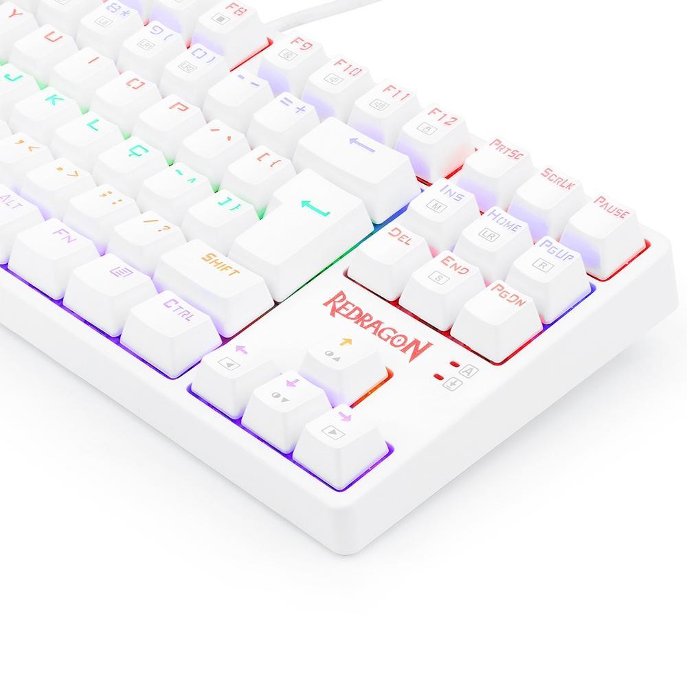 Teclado Mecanico Gamer Redragon Daksa Lunar White, Rainbow, USB, Switch Red, Branco - K576W-R (PT-RED)