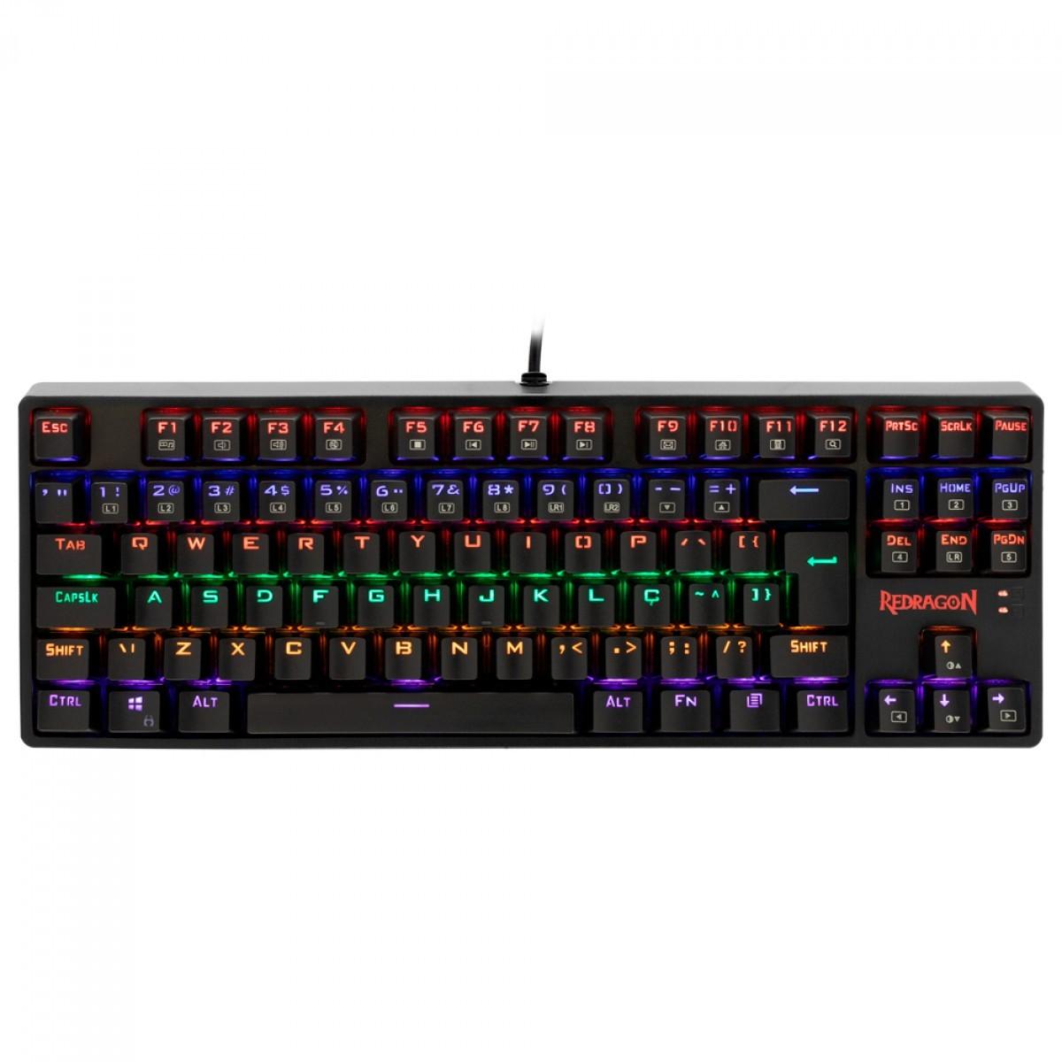 Teclado Mecânico Gamer Redragon Daksa TKL, LED Rainbow, Switch Outemu Brown, Anti-Ghosting, ABNT2, Preto - K576R-1 (PT- BROWN)