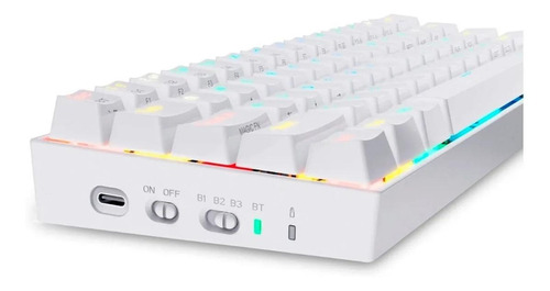 Teclado Gamer Mecânico Redragon Draconic Branco Sem Fio Rgb - K530W (Switch Brown)