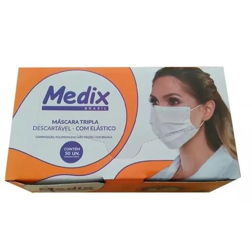 Máscara Descartável Tripla com Elástico Medix - Caixa com 50 unidades
