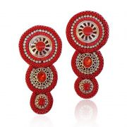 Cabedal I - Tecido 3 Mandalas (Vermelho)