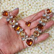 Cabedal Luxo V - Corações de Pedra Especial Mesclado (Marrom e Dourado)