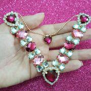Cabedal Luxo V - Corações de Pedra Especial Mesclado (Pink e Rosa)