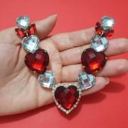 Cabedal Luxo V - Corações Navete Mesclado (Vermelho e Cristal)