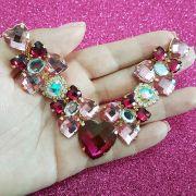 Cabedal Luxo V - Corações para Amar Mesclado (Pink e Rosa)