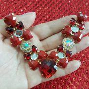 Cabedal Luxo V - Corações para Amar Mesclado (Vermelho)