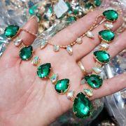 Cabedal Luxo V - Gotas de Chuva (Verde)