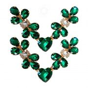 Cabedal Luxo V - Joia Chaton Coração (Verde)