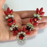 Cabedal Luxo V - Margarida Mesclado (Vermelho e Furta-Cor)
