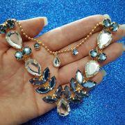 Cabedal Luxo V - Siren Mesclado (Cristal e Azul Marinho)