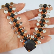 Cabedal Luxo V - Trilhas da Piscina Mesclado (Preto e Cristal)
