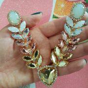 Cabedal Luxo V - Trillion Strass Mesclado (Dourado)