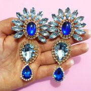 Cabedal Preciosa I - Índio/ Cocar Mesclado (Azul Royal e Azul Transparente)