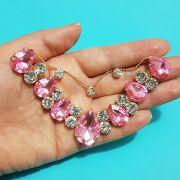 Cabedal Preciosa V - Gotas de Chuva (Rosa Chiclete)