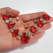 Cabedal Preciosa V - Gotas de Chuva (Vermelho)