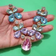 Cabedal Preciosa V - Joia Chaton Strass Mesclado (Rosa, Lilás, Azul Água Doce e Verde Água)