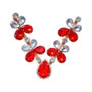 Cabedal Preciosa V - Joia Chaton Strass Mesclado (Vermelho e Cristal)