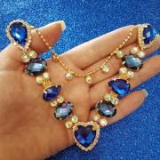 Cabedal Similar V - Coração de Pedra Mesclado (Azul Royal e Azul Marinho)