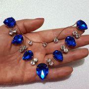 Cabedal Similar V - Gotas de Chuva (Azul Royal)