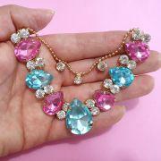 Cabedal Similar V - Gotas de Chuva Mesclado (Azul Bebê e Rosa Chiclete)