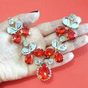 Cabedal Similar V - Joia Chaton Strass Mesclado (Vermelho e Cristal)