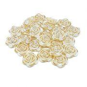 Pérola Rosa Filete Dourado ABS 18mm 50g (Creme)