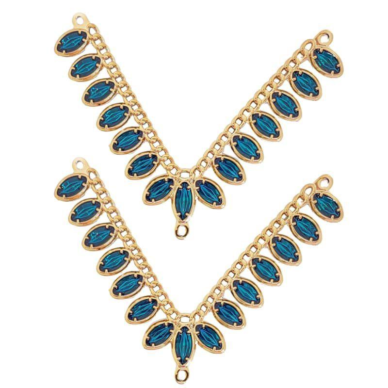 Cabedal ABS V - Joia Oval (Azul Água Doce)