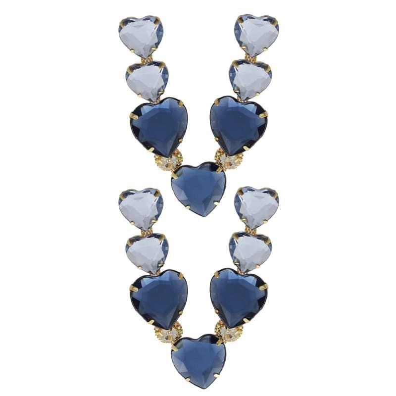 Cabedal Folheado V - Corações Unidos (Azul Marinho)