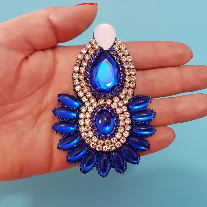 Cabedal I - Índio/ Cocar (Azul Royal e Branco)
