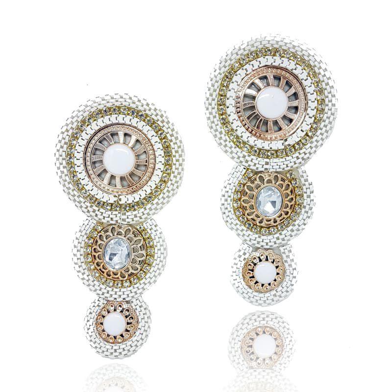 Cabedal I - Tecido 3 Mandalas (Branco)