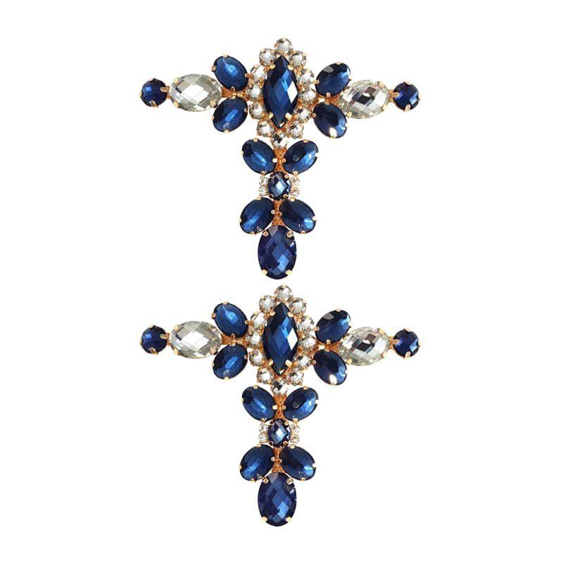 Cabedal Luxo T - Camafeu Strass Mesclado (Azul Marinho e Cristal)