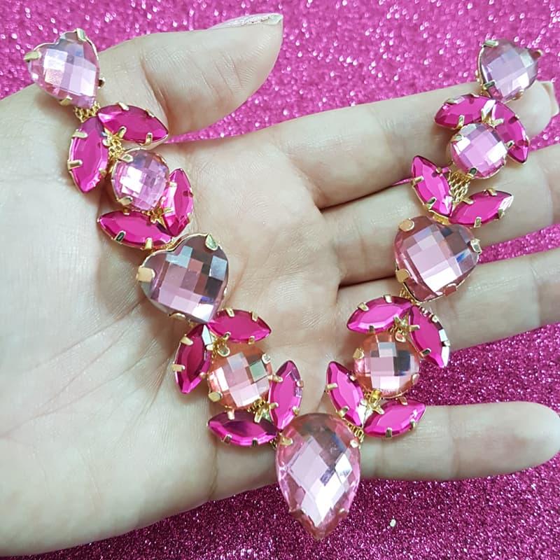 Cabedal Luxo V - Andrômeda Mesclado (Rosa e Pink)