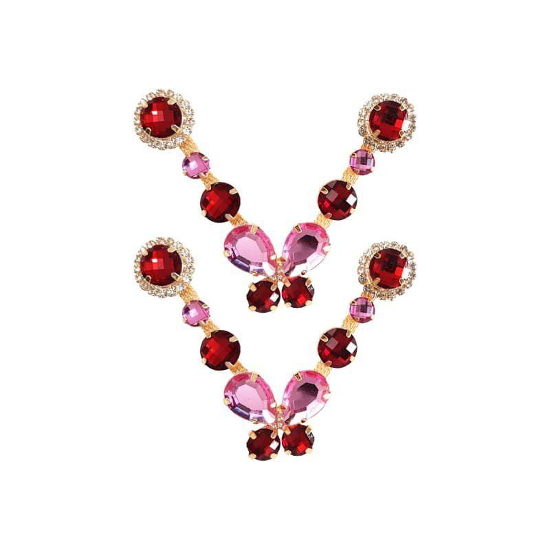 Cabedal Luxo V - Brincadeira de Borboleta Mesclado (Vermelho e Rosa)