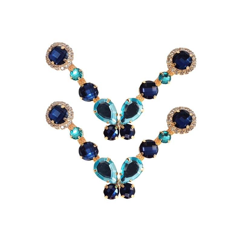 Cabedal Luxo V - Brincadeira de Borboleta P Mesclado (Azul Marinho)