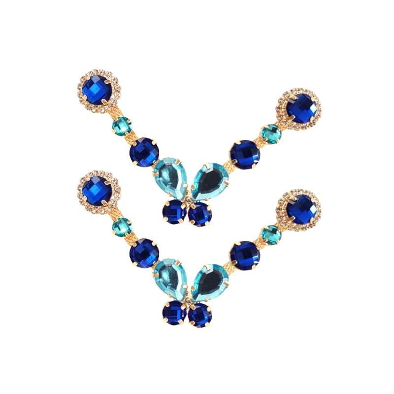 Cabedal Luxo V - Brincadeira de Borboleta P Mesclado (Azul Royal)