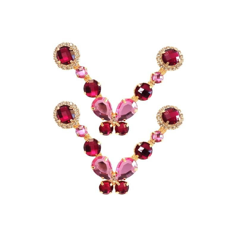 Cabedal Luxo V - Brincadeira de Borboleta P Mesclado (Pink e Rosa)