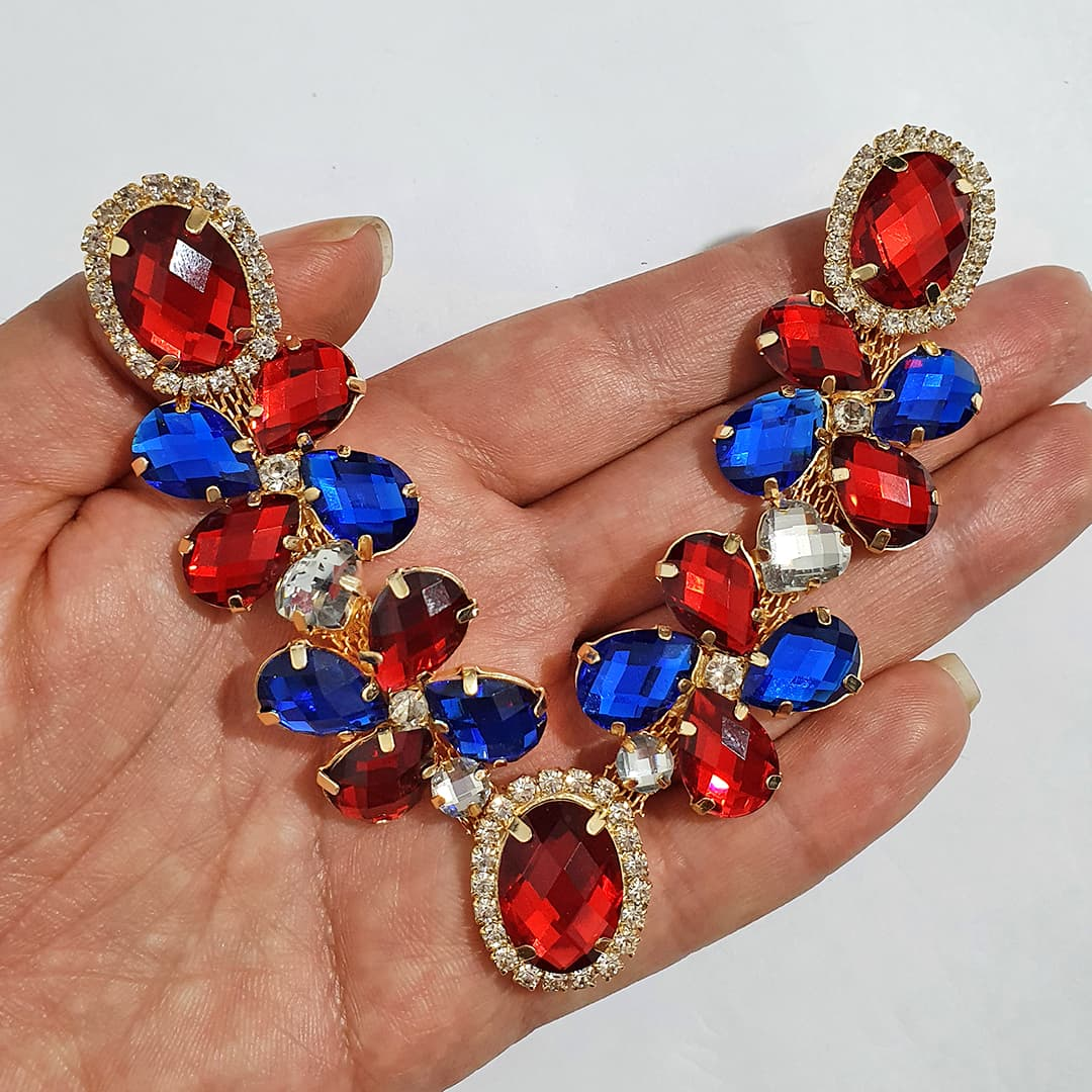 Cabedal Luxo V - Catavento no Jardim Mesclado (Vermelho e Azul Royal)