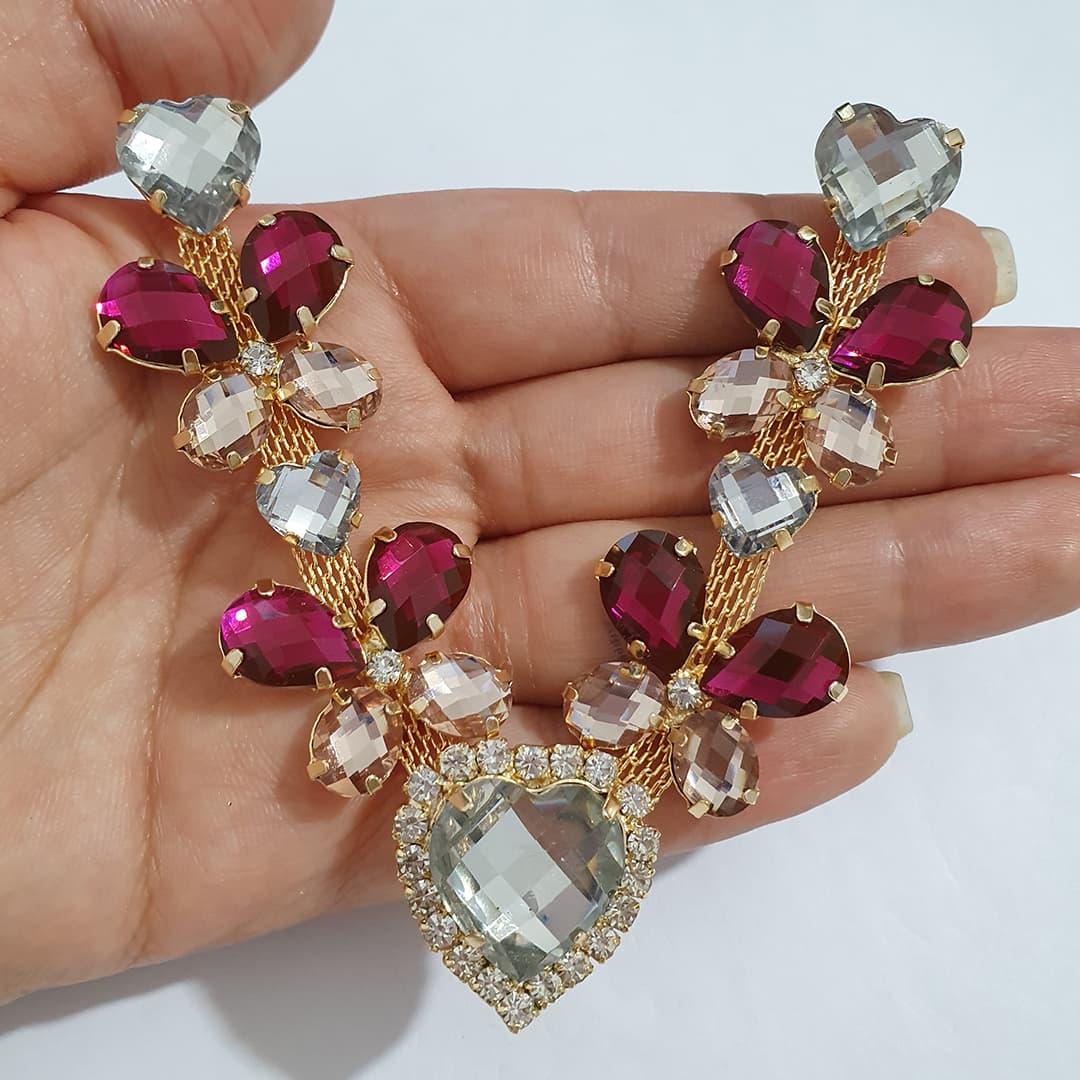 Cabedal Luxo V - Coração das Borboletas Mesclado (Cristal e Pink)