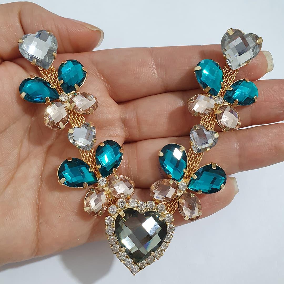 Cabedal Luxo V - Coração das Borboletas Mesclado (Cristal e Verde Kentucky)